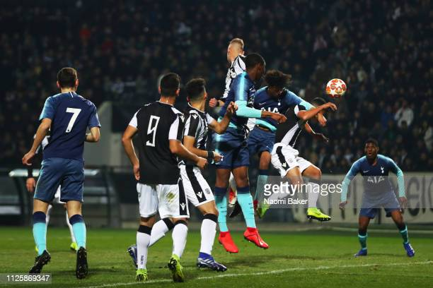 Brooklyn LyonsFoster of Tottenham Hotspur scores his sides first goal during the UEFA Youth League match between PAOK and Tottenham Hotspur at Toumba...