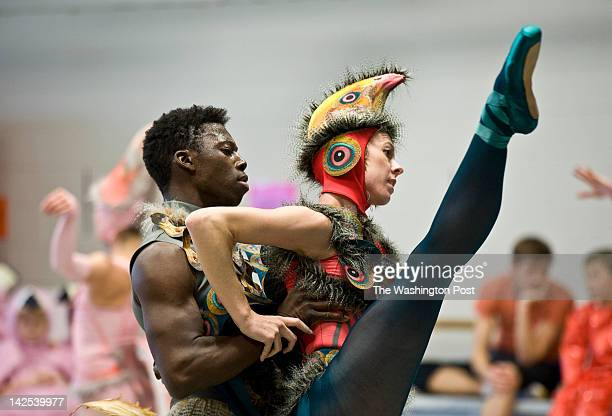 Brooklyn Mack as the Dodo Bird and Emily Ellis perform Alice in Wonderland during rehearsal at The Washington Ballet studio Tuesday April 3 2012 in...