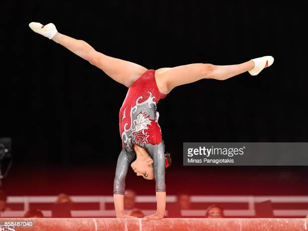 Brooklyn Moors of Canada competes on the balance beam during the women's individual allaround final of the Artistic Gymnastics World Championships on...