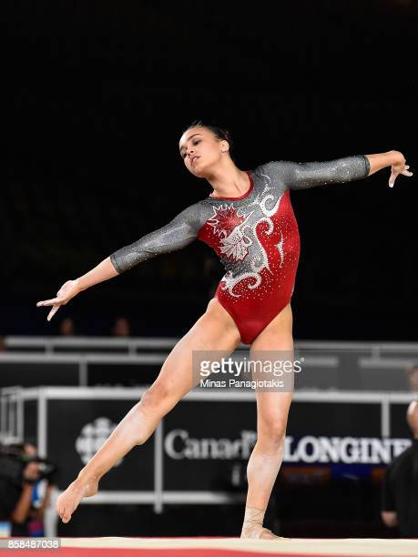 Brooklyn Moors of Canada competes on the floor exercise during the women's individual allaround final of the Artistic Gymnastics World Championships...