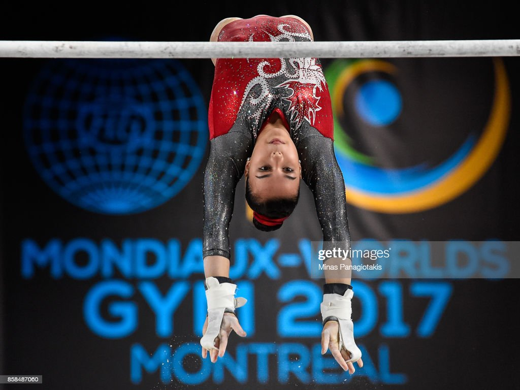 Brooklyn Moors of Canada competes on the uneven bars during the women's individual all-around final of the Artistic Gymnastics World Championships on October 6, 2017 at Olympic Stadium in Montreal, Canada.