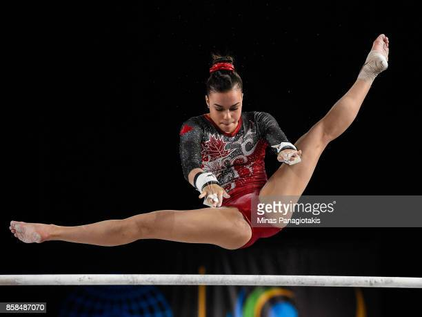 Brooklyn Moors of Canada competes on the uneven bars during the women's individual allaround final of the Artistic Gymnastics World Championships on...
