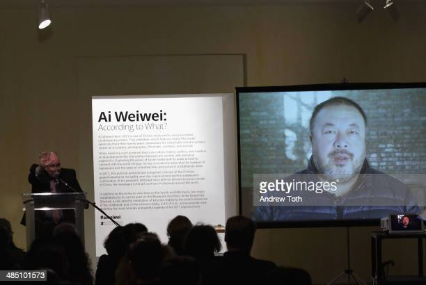 Brooklyn Museum Director Arnold L Lehman speaks during the media preview for Ai Wei Wei According To What at Brooklyn Museum on April 16 2014 in the...