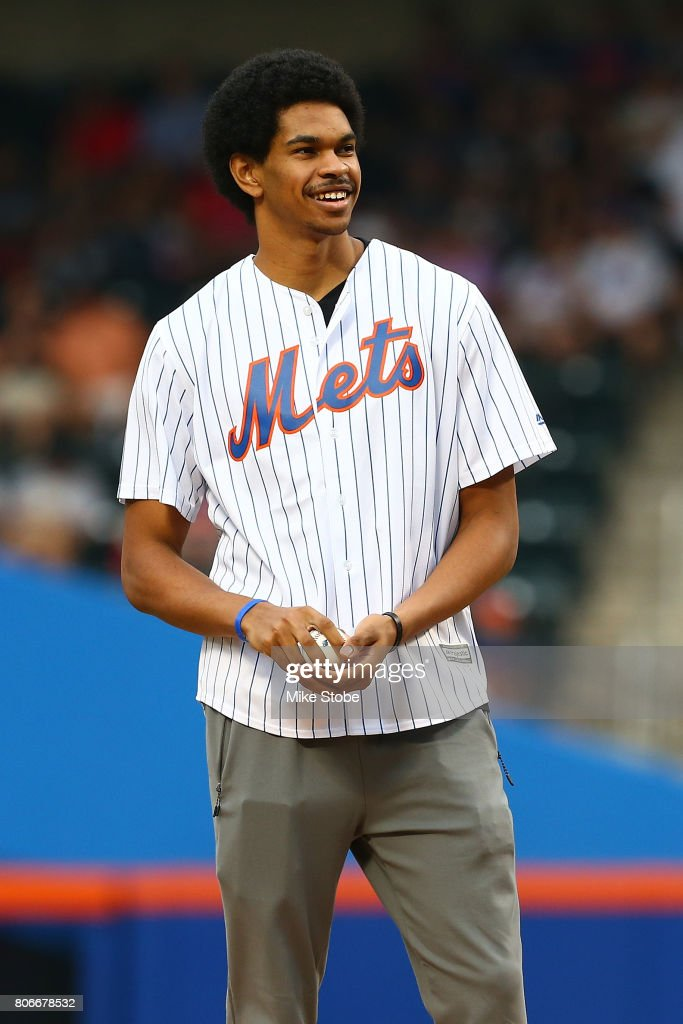 Brooklyn Nets 2017 first round pick Jarrett Allen throw out the first pitch prior to the game between the New York Mets and the Philadelphia Phillies at Citi Field on June 30, 2017 in the Flushing neighborhood of the Queens borough of New York City.