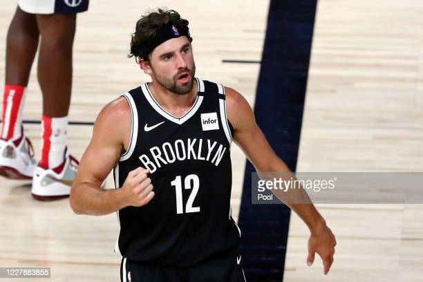 Brooklyn Nets forward Joe Harris reacts after a play against the Washington Wizards in the second half of a NBA basketball game at HP Field House at...