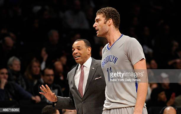 Brooklyn Nets head coach Lionel Hollins with Brooklyn Nets center Brook Lopez 2nd quarter Brooklyn Nets vs Chicago Bulls at Barclays Center Brooklyn...