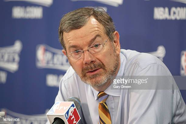 Brooklyn Nets Head Coach PJ Carlesimo addresses the media during a press conference following Game Six of the Eastern Conference Quarterfinals...