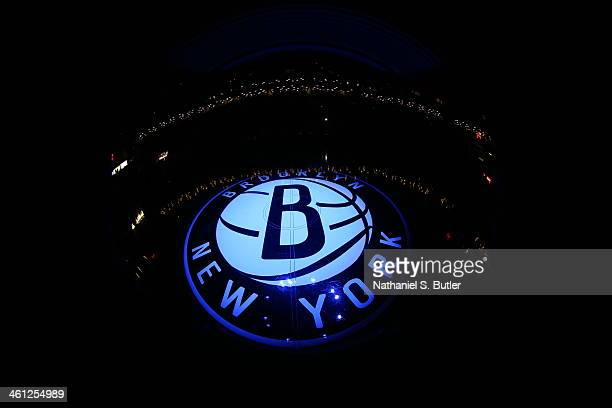 Brooklyn Nets logo on center court before a game against the New York Knicks during a game at Barclays Center on December 5 2013 in the Brooklyn...