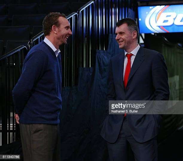 Brooklyn Nets owner Mikhail Prokhorov and new General Manager Sean Marks are seen before a game between the New York Knicks and the Brooklyn Nets on...