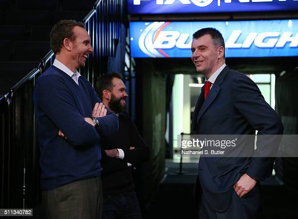 Brooklyn Nets owner Mikhail Prokhorov Dimitry Razumov and General Manager Sean Marks are seen before a game between the New York Knicks and the...