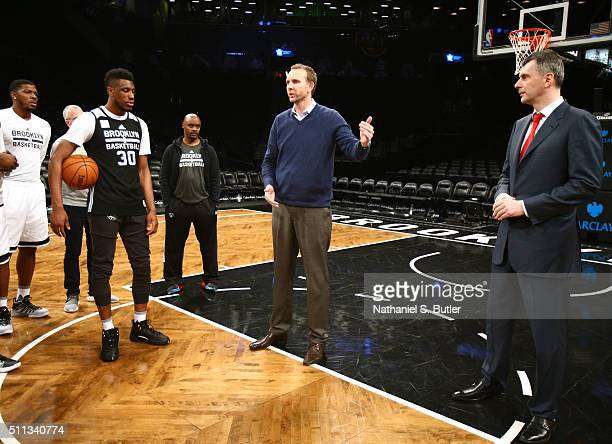 Brooklyn Nets owner Mikhail Prokhorov introduces new General Manager Sean Marks to the team before a game between the New York Knicks and the...