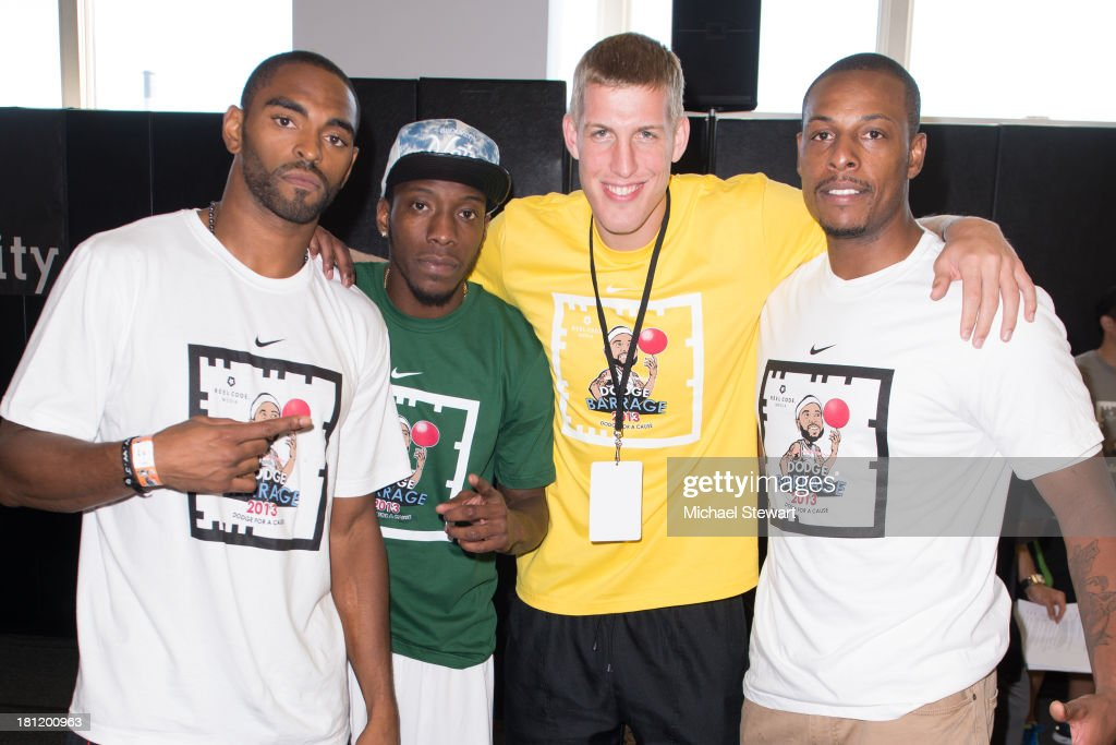 Brooklyn Nets players Alan Anderson, Tyshawn Taylor, Mason Plumlee and Paul Pierce attend Dodge Barrage 2013 at Pier 36 on September 19, 2013 in New York City.