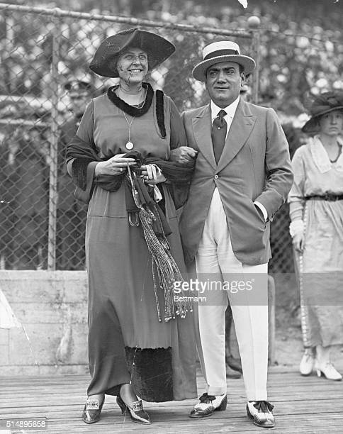 Enrico Caruso tenor singer and his wife at the Police Games Sheepshead Bay Undated photograph circa 1915