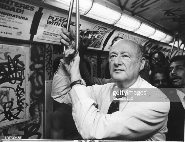 New York City Mayor Ed Koch rides the RR local subway train to Brooklyn New York on August 2 on his way to watch kids from a summer jobs program work...