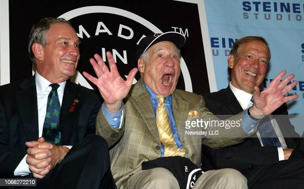 New York Mayor Michael Bloomberg, Mel Brooks and New York Governor George Pataki at Steiner Studios in the Brooklyn Navy Yard where Brooks announced...