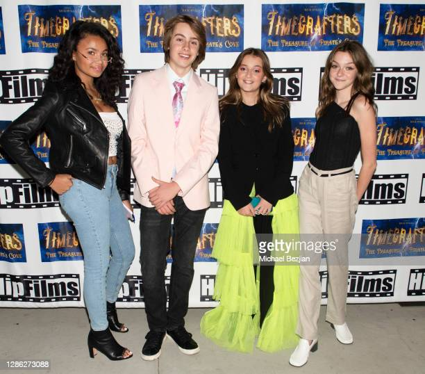 Brooklyn Queen Ryker Baloun Sophie Fergi and Sarah Dorothy Little arrive at The Artists Project Hosts Portraits For The Premiere of Timecrafters on...