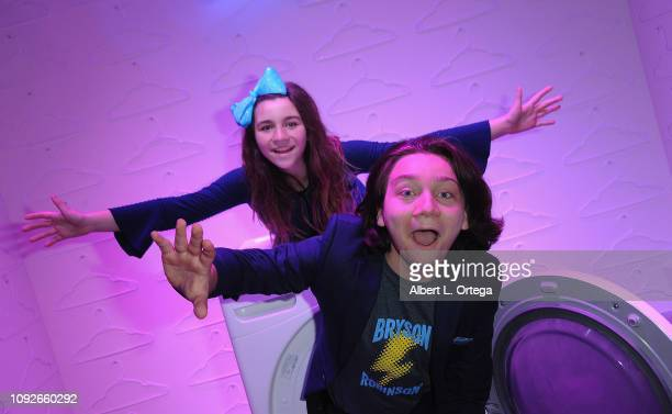 Brooklyn Robinson and Bryson Robinson attend Partywith Season 2 Media Preview Day held at Westfield Santa Anita on February 1 2019 in Arcadia...