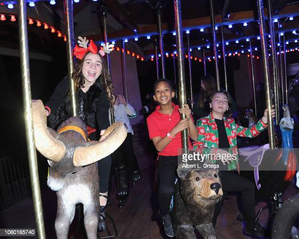 Brooklyn Robinson Brandin Stennis and Bryson Robinson attend the LA Zoo Lights Special Preview/VIP Night held at Los Angeles Zoo on November 10 2018...