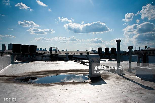 Brooklyn Rooftop with Manhattan Skyline as Background