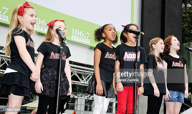 Brooklyn Shuck Emily Rosenfeld Tyrah Skye Odoms Amaya Braganza Gaby Bradbury and Taylor Richardson from the cast of 'Annie' perform during 1067 LITE...