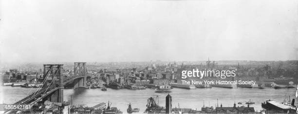 Brooklyn skyline and Brooklyn Bridge viewed from the American Tract Society building New York New York 1895