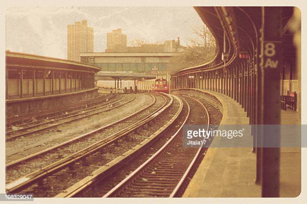 brooklyn subway postcard - grunge - train graffiti stock photos and pictures