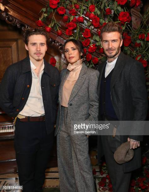 Brooklyn Victoria and David Beckham attend the Kent Curwen presentation during London Fashion Week Men's January 2019 at Two Temple Place on January...