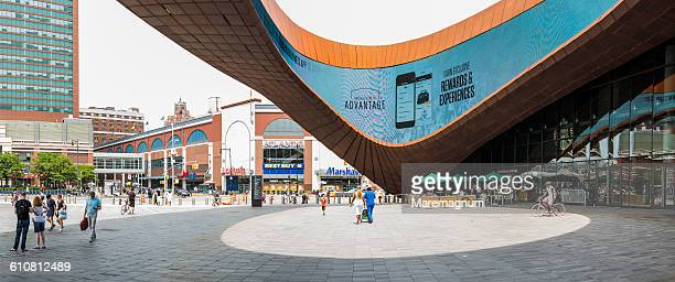 brooklyn, view of barclays center - barclays center brooklyn stock pictures, royalty-free photos & images