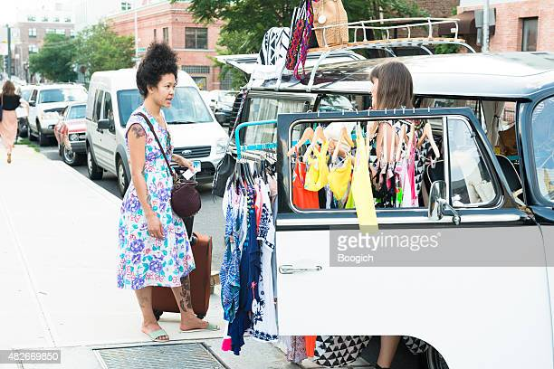 nyc brooklyn williamsburg pop up shop selling clothes from van - pop up store stock pictures, royalty-free photos & images