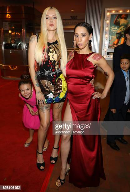 Brooklynn Prince Bria Vinaite and Mela Murder are seen at the Tower Theater during 'THE FLORIDA PROJECT' Miami Premiere on October 5 2017 in Miami...