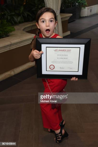 Brooklynn Prince holds her award during the 18th Annual AFI Awards at Four Seasons Hotel Los Angeles at Beverly Hills on January 5 2018 in Los...