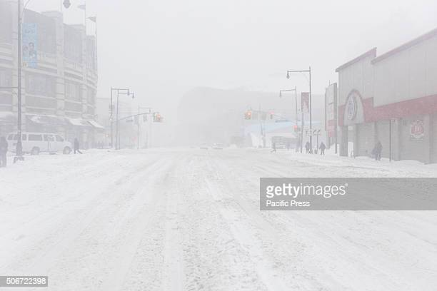 Brooklyn's longest street Atlantic Avenue deserted and whited out during height of blizzard New York City's first blizzard of 2016 hit the five...