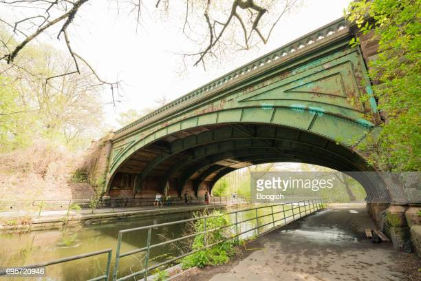 NYC Brooklyn's Prospect Park Arched Bridge Over Water