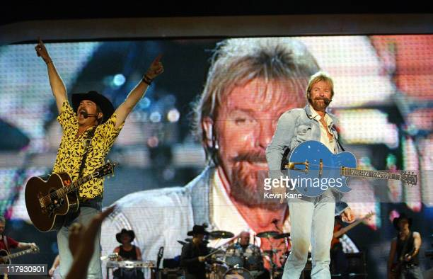 Brooks and Dunn during Dale EarnhardtTribute Concert at Daytona International Speedway in Daytona Beach Florida United States