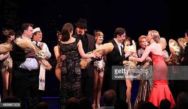 Brooks Ashmanskas Nick Cordero Zach Braff Marin Mazzie and Helene Yorke during the Broadway Opening Night Performance Curtain Call for ''Bullets Over...