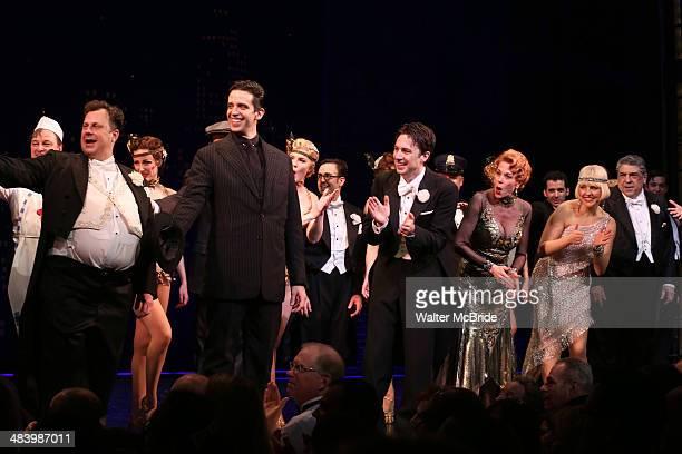 Brooks Ashmanskas Nick Cordero Zach Braff Marin Mazzie Helene Yorke and Vincent Pastore during the Broadway Opening Night Performance Curtain Call...