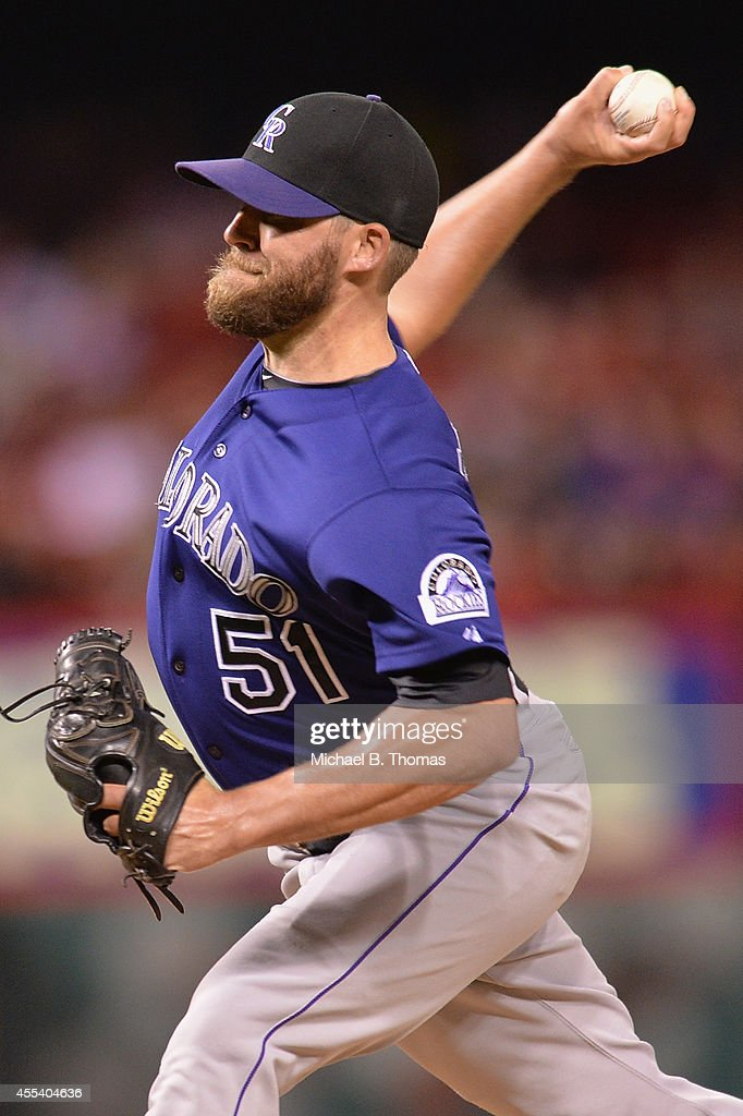 Brooks Brown #51of the Colorado Rockies pitches in the eighth inning against the St. Louis Cardinals at Busch Stadium on September 13, 2014 in St. Louis, Missouri.