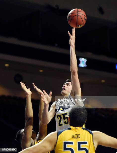 Brooks Debisschop of the Northern Arizona Lumberjacks shoots against the UC Irvine Anteaters during the 2017 Continental Tire Las Vegas Invitational...