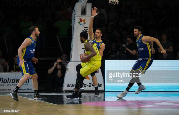 Brooks De´Moon in action during the easyCredit BBL match between medi bayreuth and EWE Baskets Oldenburg at Oberfrankenhalle on May 5 2017 in...