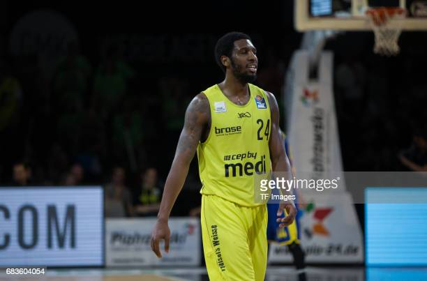 Brooks De´Moon of medi bayreuth looks on during the easyCredit BBL match between medi bayreuth and EWE Baskets Oldenburg at Oberfrankenhalle on May 5...