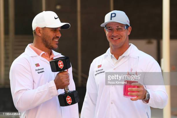Brooks Koepka and Bryson DeChambeau attend the launch The Abu Dhabi HSBC Championship Presented by EGA at Masdar City a unique 'city of the future'...