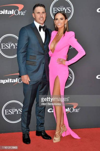 Brooks Koepka and Jena Sims attend the 2019 ESPY Awards at Microsoft Theater on July 10 2019 in Los Angeles California