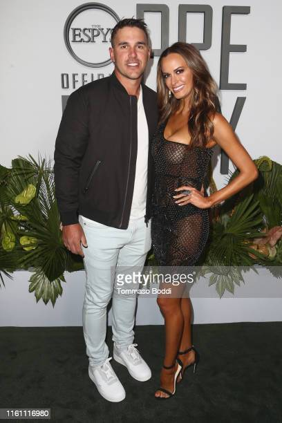 Brooks Koepka and Jena Sims attend the ESPN's The ESPYS Official PreParty at Hotel Figueroa on July 09 2019 in Los Angeles California
