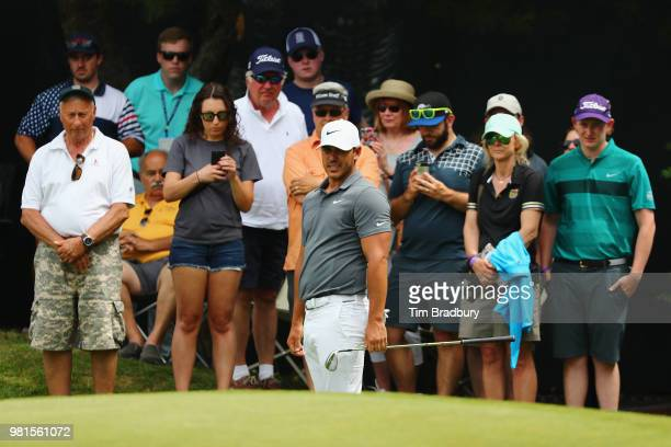 Brooks Koepka chips onto the green on the sixth hole during the second round of the Travelers Championship at TPC River Highlands on June 22 2018 in...