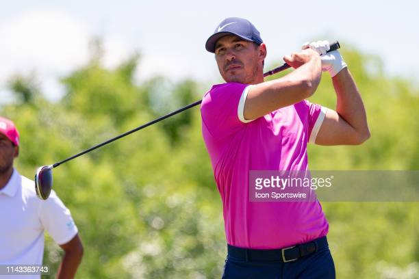 Brooks Koepka hits his tee shot on during the final round of the AT&T Byron Nelson on May 12, 2019 at Trinity Forest Golf Club in Dallas, TX.