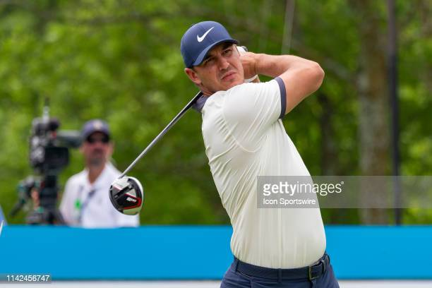 Brooks Koepka hits his tee shot on during the first round of the ATT Byron Nelson on May 9 2019 at Trinity Forest Golf Club in Dallas TX