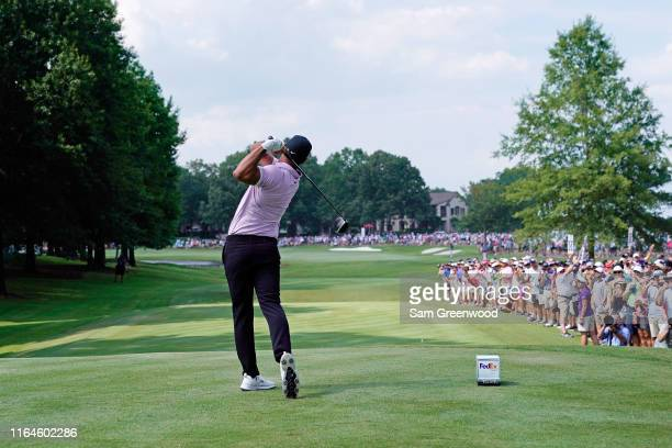 Brooks Koepka hits his tee shot on the 18th hole during the third round of the World Golf ChampionshipFedEx St Jude Invitational at TPC Southwind on...