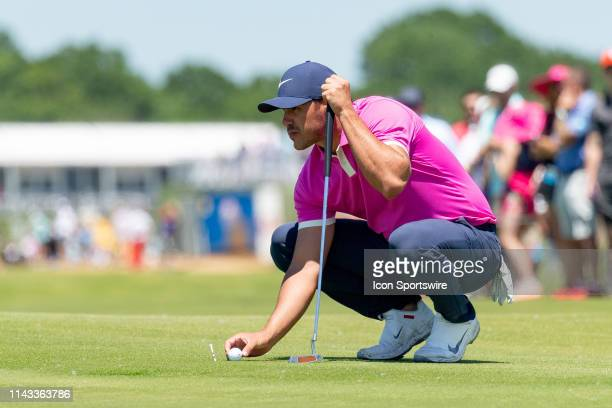 Brooks Koepka lines up his putt on during the final round of the AT&T Byron Nelson on May 12, 2019 at Trinity Forest Golf Club in Dallas, TX.