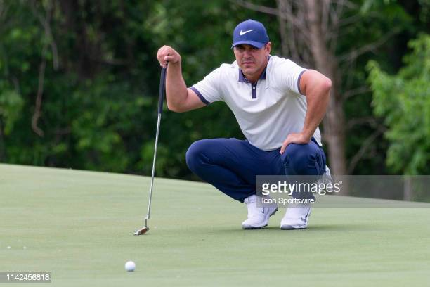 Brooks Koepka lines up his putt on during the first round of the ATT Byron Nelson on May 9 2019 at Trinity Forest Golf Club in Dallas TX