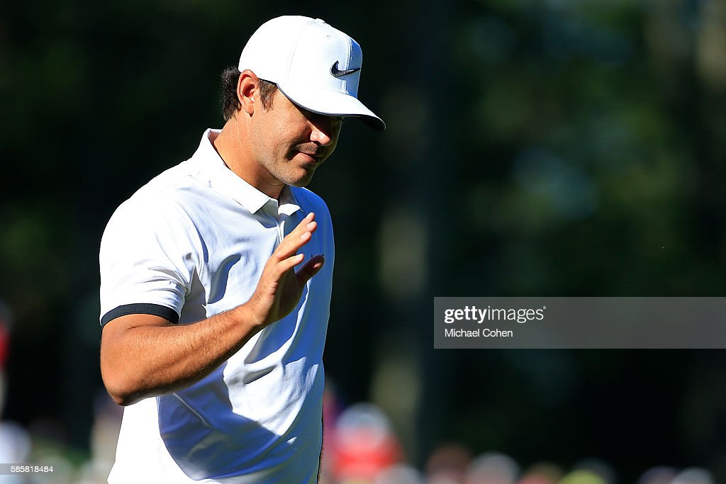 Brooks Koepka makes a birdie putt on the 11th hole during the first round of the Travelers Championship at TPC River Highlands on August 4, 2016 in Cromwell, Connecticut.